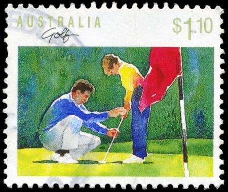 Postkarte mit Golfmotiv